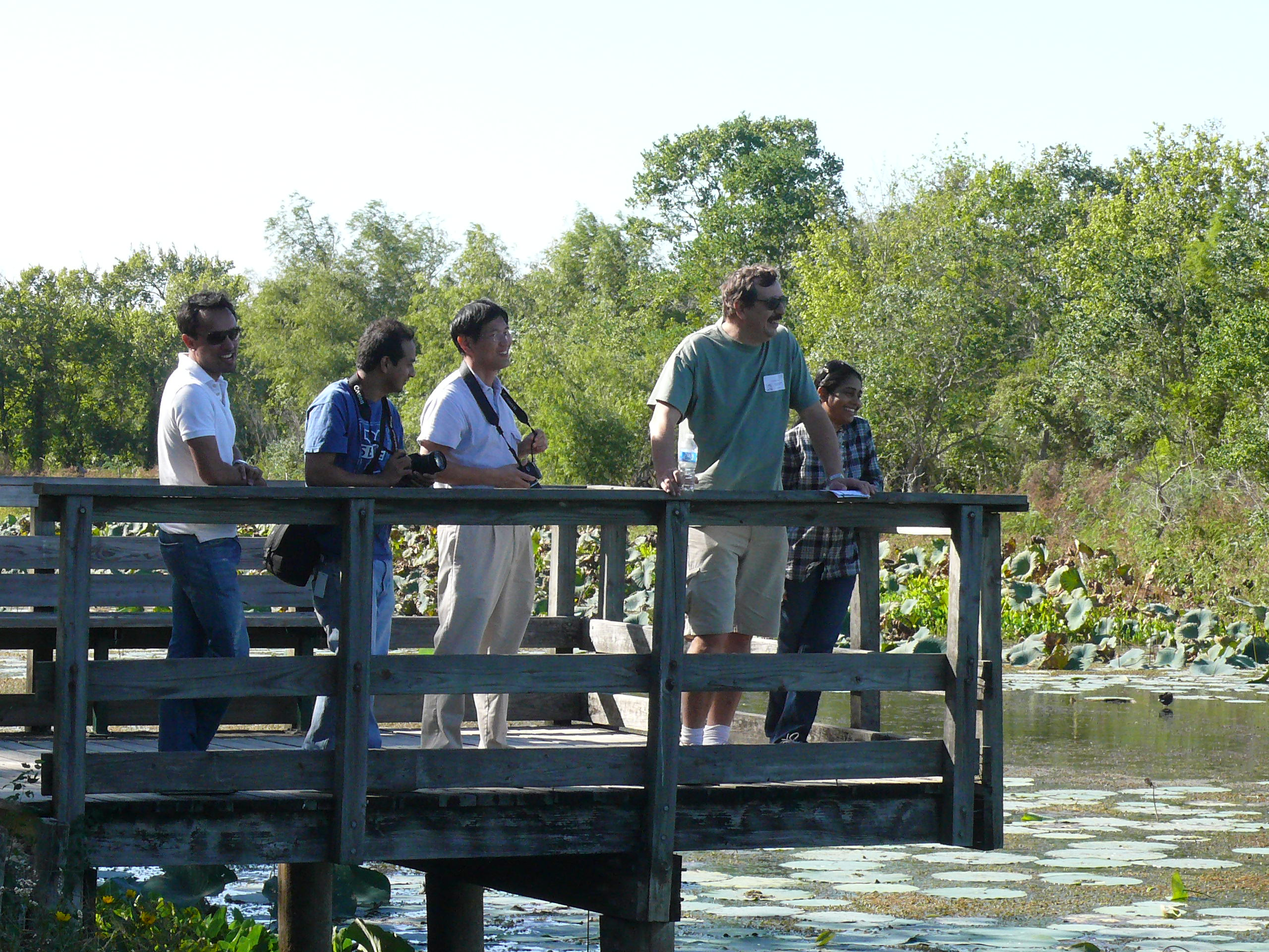 : Redwan Huq, Rajeev Tajhya, Dr. Xueyou Hu, Dr, György Panyi, and Dr. Shyny Koshy at Brazos Bend State Park, in 2011