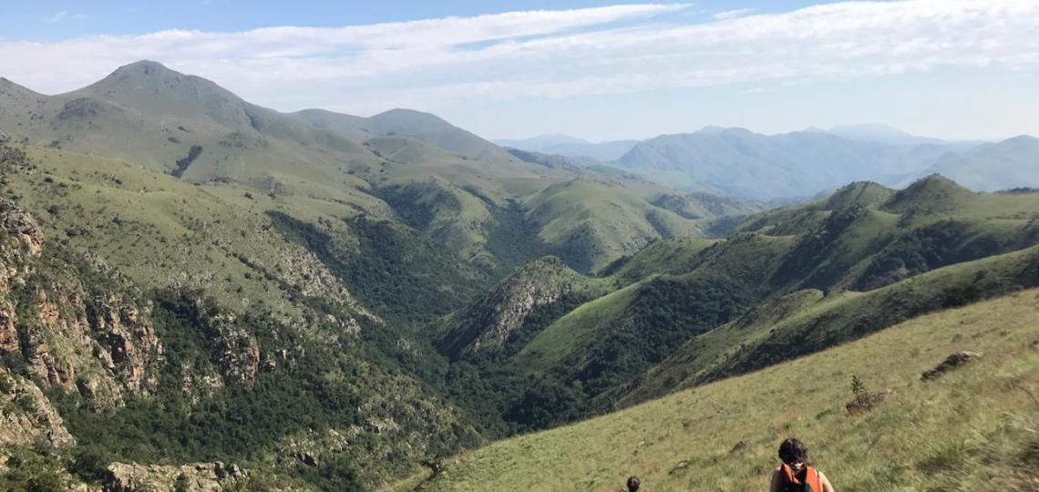 Drs. Tara Ness and Amanda Small hiking at Malalotja in Eswantini