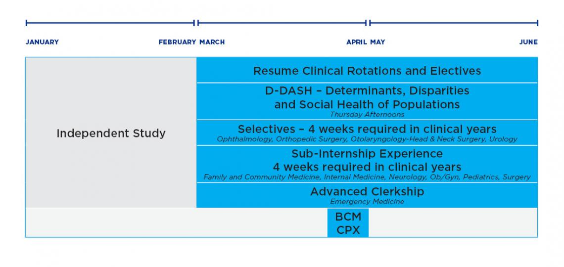 Diagram of spring clinical sciences curriculum for M.D. students