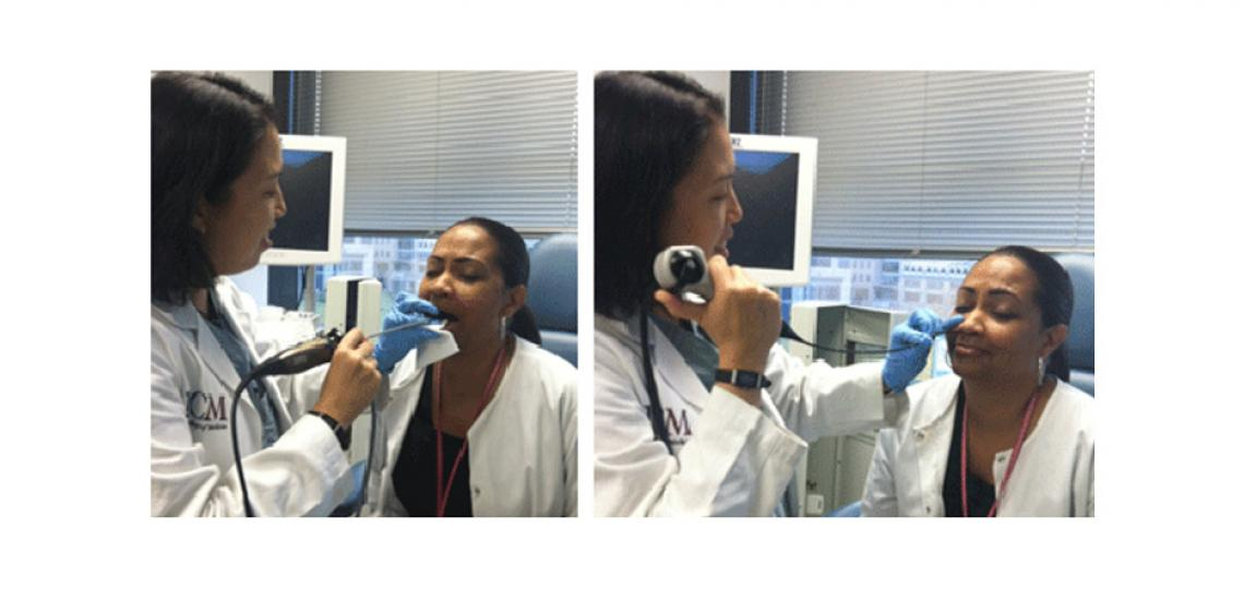 Left photo: The rigid scope is inserted into the mouth to visualize the larynx (voice box). Right photo: The flexible fiber optic scope is inserted into the nose and into the throat.