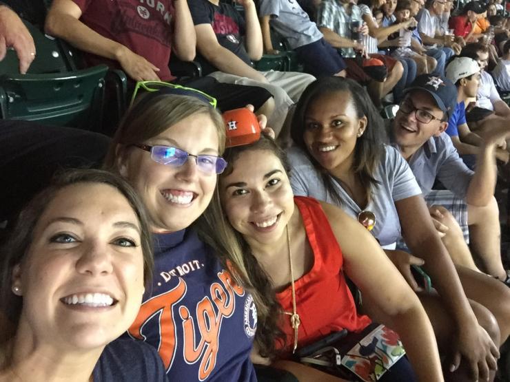 Interns enjoying a night at the Astros game