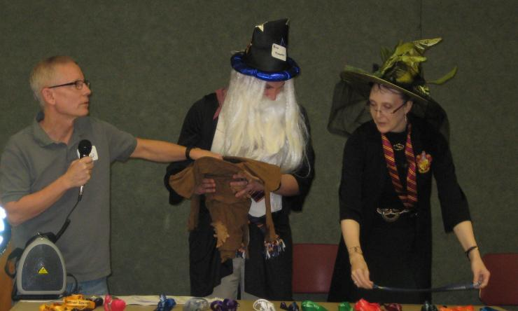 Resident sorting hat event with Drs. Ward and Turner