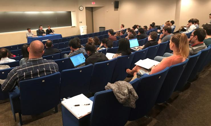 Grad students, postdocs and faculty listen in as junior faculty members share their experiences transitioning from postdoc to independent investigator.