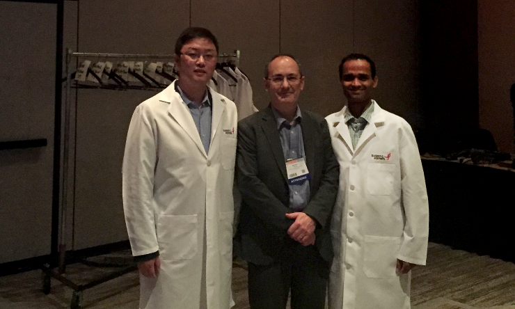 Dr. Xi Chen, Dr. Matthew Ellis and Dr. Meghashyam Kavuri attend the Susan G. Komen awards ceremony at the 2016 San Antonio Breast Cancer Symposium.