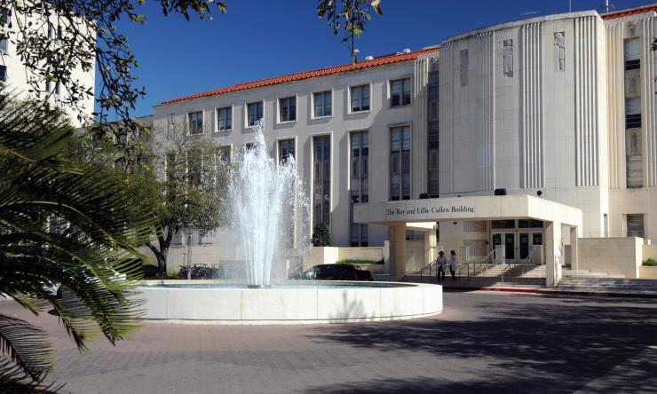 The Roy and Lillie Cullen Building, with the Alkek Fountain at the entrance.