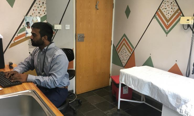 A medical student at a clinic in Botswana. Botswana is a Baylor International Pediatrics AIDS Initiative (BIPAI) site available for Baylor College of Medicine students interested in doing an international pediatric clinical elective